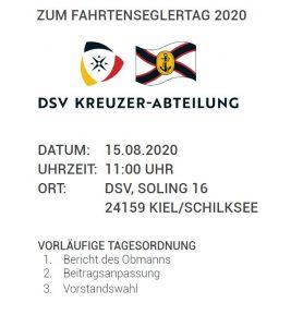 Termine: 15.08.2020 Fahrtenseglertag der DSV Kreuzer-Abteilung und CKA Safety-Day